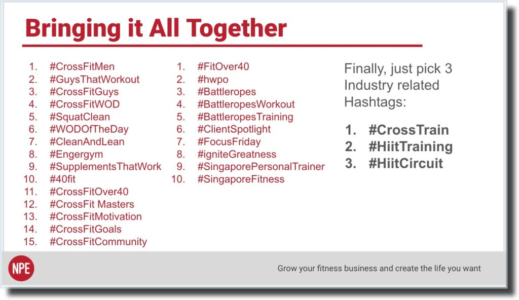Instagram final three hashtags postpartum, female fitness, workout tips