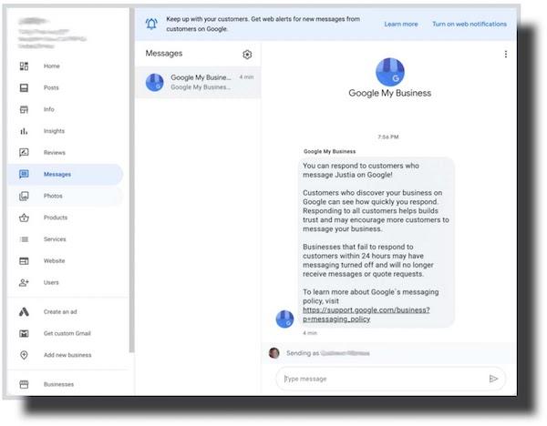 Google My Business Desktop Messaging