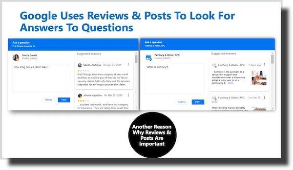 Google USes Reviews and Posts to Answer Questions