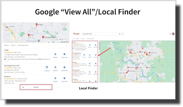 Google View All Local Finder