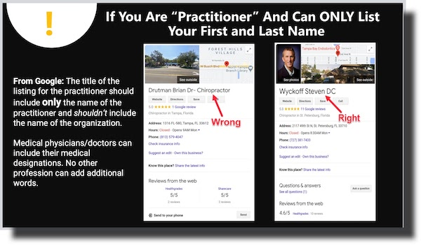 Practitioners Can Only List First and Last Name