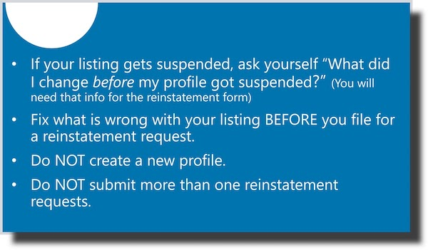 What to do if GMB Listing suspended
