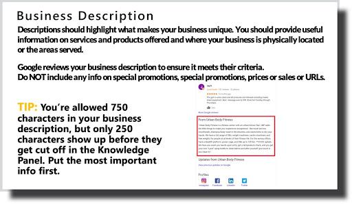 your business description should be unique and detailed